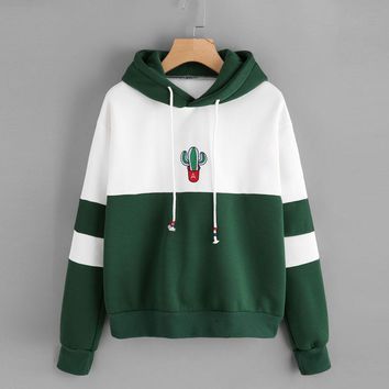 Harajuku Sweatshirt Hoodies Women Streetwear Cactus Print Pocket Kpop Hoodie Korean Style Autumn 2018 Womens Clothing Moletom