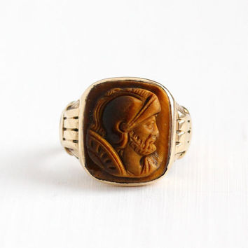 Sale - Vintage 10k Rosy Yellow Gold Tiger's Eye Cameo Ring - Edwardian 1910 Size 9 Roman Warrior Soldier Men's Fine Brown Carved Gem Jewelry