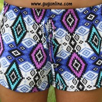 YEAR END SALE Sweet Santa Fe Blue and Purple Aztec Shorts