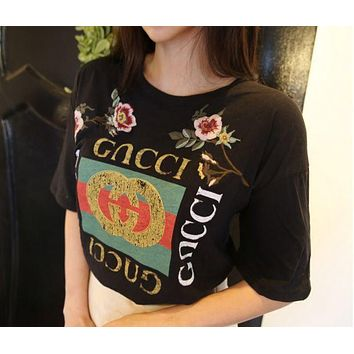 Chenire GUCCI Fashion Loose Embroidery Roses Print Shirt Top Tee