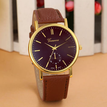 Fashion Geneva Watch Women Wristwatch Leather Casual Watch Quartz Watch Dress Watch