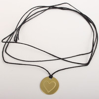 catbird brass disc necklace/bracelet-heart stamp