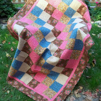 Brown Pink Patchwork Lap Quilt, Quilted Throw or Picnic Blanket Florals