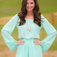 Every Now & Then Romper-Mint