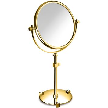 Moonlight Gold Table 5x Circular Magnifying ADJ Mirror W/ Swarovski Crystals - White/ Black