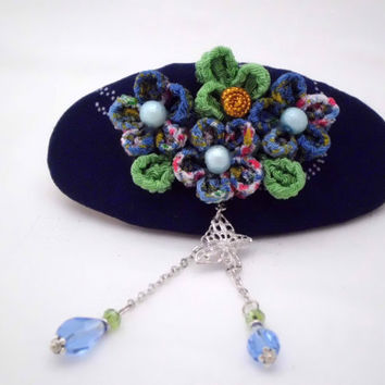 Blue plum blossom French barrette, Kanzashi inspired with teardrop and butterfly charm dangles, Fabric flower hair clip, ooak