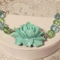Large Statement Flower Bracelet in Aqua, Blue, Green, Cuff, MOP, Mother of Pearl