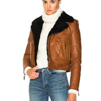 Saint Laurent Lamb Shearling Trim Classic Motorcycle Jacket in Cognac & Black | FWRD