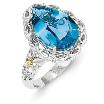 Antique Style Sterling Silver with 14k Yellow Gold Blue Topaz Ring