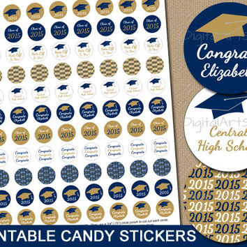 Personalized Navy and Gold Printable Graduation Candy Stickers - Graduation Party Chocolate Labels 2015 DIY Party Favors - Custom Colors