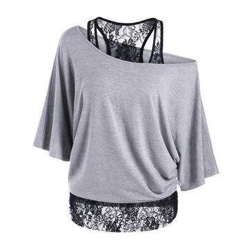 Summer Fashion Lace T-Shirt Casual Pullover  Elegant Blusa Body Tops Tees Clothes