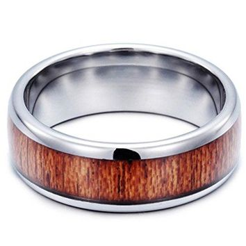 8mm Tungsten Carbide Ring Vintage Woodiness Wooden Wedding Engagement Promise Band