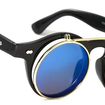 Retro Classic Sunglasses Flip Up Frontline Style Men Women Blue Mirror Lens Round Frame