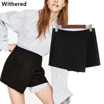 Withered 2017 women shorts skirts european and american style suede criss cross solid color sexy shorts like skirts for women