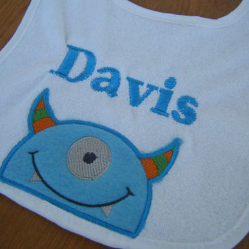 Personalized Monster Bib, Monster Birthday Party, Monster Baby Shower Gift, personalized gift, Monster Baby Shower, Monsters Inc Decor