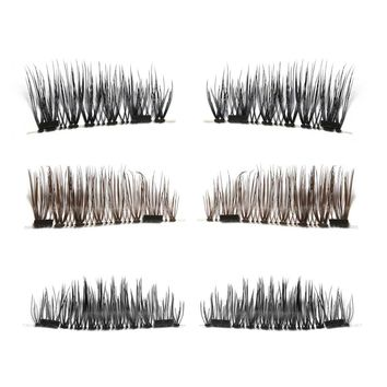 1 Set Long Natural Soft 3D Double Magnet Full Strips Magnetic False Eyelashes Reusable No Glue Eye Lashes Extension Tools