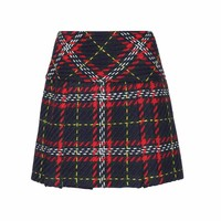 Plaid wool skirt