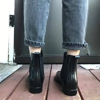 shiny short black rain-boots