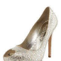 Alexander McQueen - Metallic Crackled-Leather Pump - Bergdorf Goodman