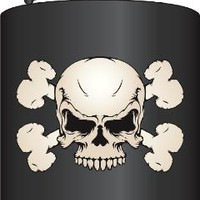Flask Skull and Crossbones Black Metal Stainless Steel 6z