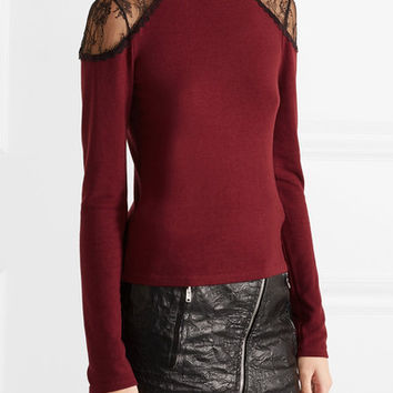 Alice + Olivia - Krystalle lace-trimmed stretch-knit turtleneck sweater