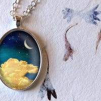 Moon and Clouds Necklace, Night Sky Pendant, Oval Necklace (1564S)