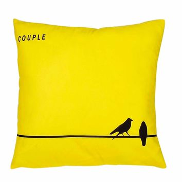 Couple Bird Print Cushion Cover