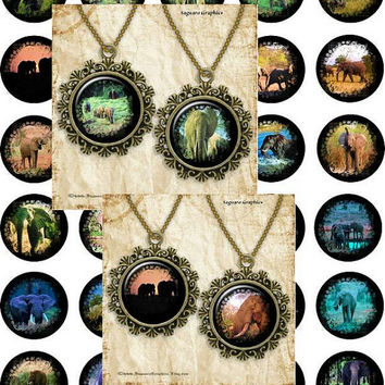 African Elephant Paintings Art - - Digital Collage Sheets - 1.5 inch Circles for Jewelry Makers, Party Favors, Wedding Projects, Crafts