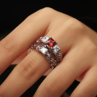 Ring. 2-in-1 Womens Red Diamond Silver Engagement Wedding Band Heart Rings Bride Ring