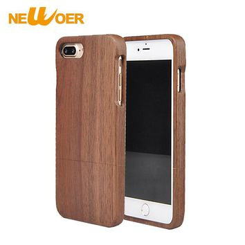 Original NEWOER For iPhone 7 7S 7G Wood Case Real Handmade Hard Bamboo Cover Nature Rose Wooden Phone Cases NEWOER