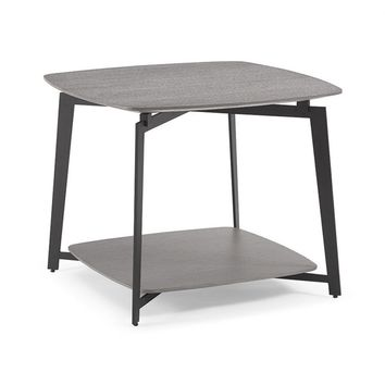 Mavis side table gray oak top and panel with black powder coated metal base