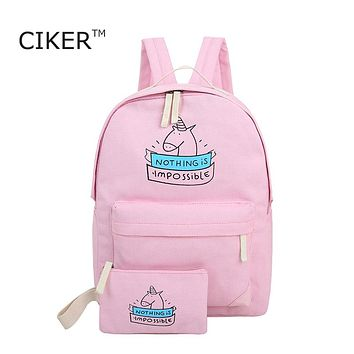CIKER women canvas backpack fashion cute travel bags unicorn printing backpack 2pcs/set new laptop backpacks for teenage girls