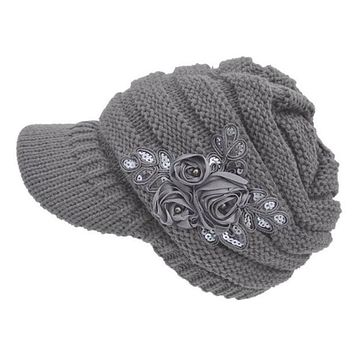 2017 New Women's Cable Knit Visor Hat With Flower Accent Dropshipping L602