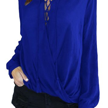 Blue Bamboo Lace up Blouse