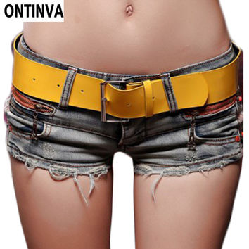 Free Yellow Belt !!! Sexy Ripped Short Jeans Femininos Woman Crochet Lace Shorts Plus Size Summer Hot Skort Female Denim Shorts