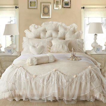 6pc. Luxury Princess Jacquard Lace Ruffles 100% Cotton Duvet Cover Bedding Set