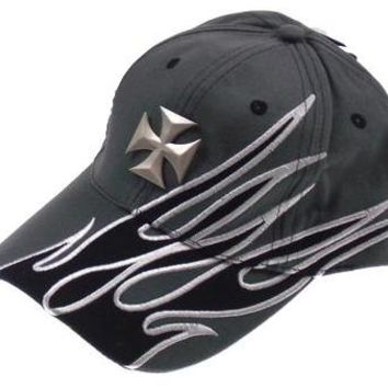 Rolling Steel Thunder Ride Or Die Adult Biker Hats Caps Lot 2 Gray Cross Flames