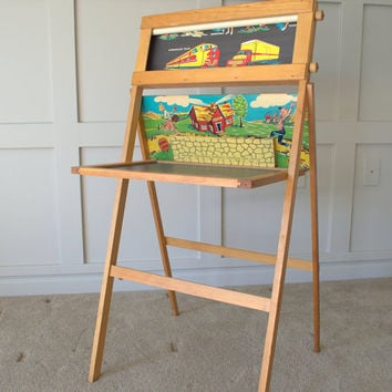 1950s Falcon Standing Chalkboard, Childs Chalkboard, Vintage Chalkboard Easel, Standing School Activity Center
