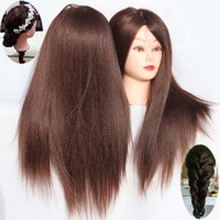 24inch Brown Hair Training Head Synthetic Hair Mannequin Head For Practice Dummy Hairstyles Head Of Training For Hairdresser
