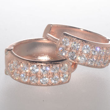 Sterling Silver Hoop Earrings Rose Gold Plated 2 Row Cubic Zirconia 13mm x 5mm