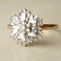 1950's Baguette Diamond Starburst Ring, Vintage Diamond Flower Ring, 9k Gold… [pr017] - $1.02 : Lowest price, Supply all kinds of cheap fasion jewelry at Cost21.com
