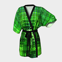 Design: It's Wet in the Jungle - Kimono Robe, Bath Robe, Lounge Wear, Robe, Coverup. Swim Coverup, Gift for Her, Gift for Him, Active Wear