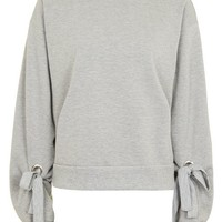 Tie Sleeve Blouson Sweat Top - New In