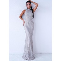 Silver Sleeveless Evening Gown