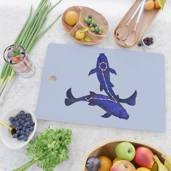 Astrological sign pisces constellation Cutting Board by savousepate