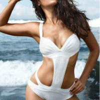 New lady cross bandage one-piece swimsuit white hollow out with breast pad strip steel