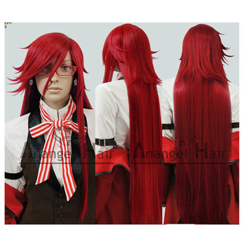 Free Hair Cap  +  Black Butler Kuroshitsuji Grell Sutcliff pre styled  long dark red layers cosplay wig D0090