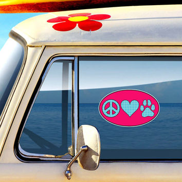 Peace love paw decal dog paw print heart vinyl bumper sticker pet cute car decal