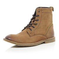 River Island MensBrown nubuck lace up boots