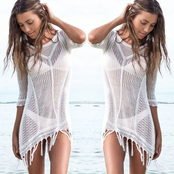 Women Summer Bathing Suit Lace Tassels Swimwear Cover Up Transparent Mini Beach Cover-ups